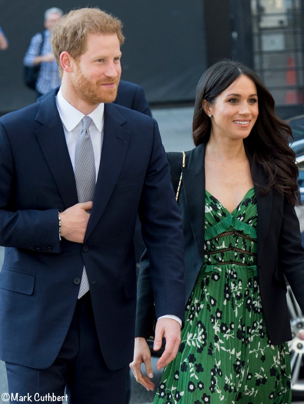 Meghan Markle Self Portrait green dress