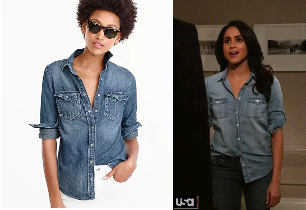 01cffec4b6 ... when she wore the J. Crew chambray shirt on an episode. She has also  been seen on occasion wearing her chambray shirt out and about.