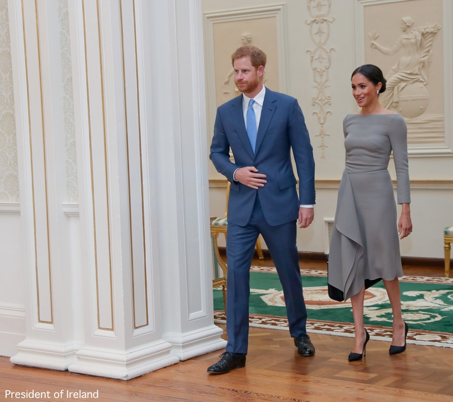 a9dc3e80 Meghan wore Roland Mouret for her first engagement with Prince Harry on day  two of the couple's visit to Dublin, Ireland.