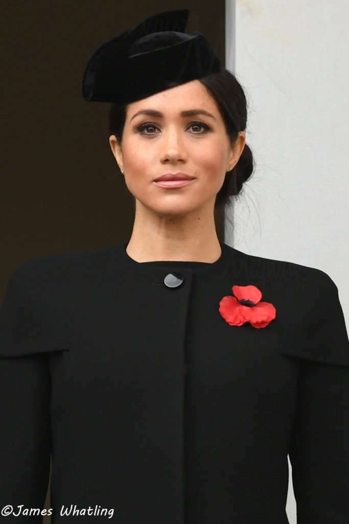 """7d3f8b35c6222f We have a very brief look at what Meghan wore for today's services,  starting with this morning's event. She was in a structured coat coat with  shoulder """" ..."""