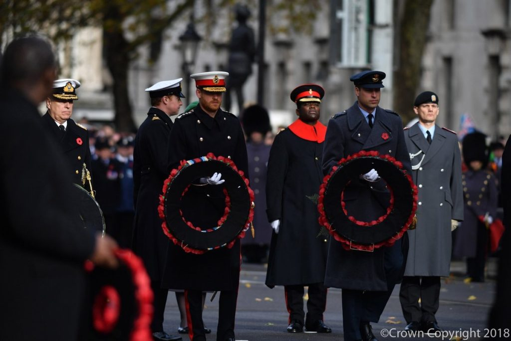 21ce258daeb9a0 Prince Andrew can be seen below, far left, with The Duke of Sussex and The  Duke of Cambridge as they step forward with their wreaths.