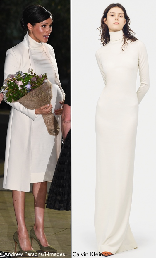 1c5d6865c702 Meghan s Calvin Klein dress is a variation of this style from the brand s  Resort  19 collection.