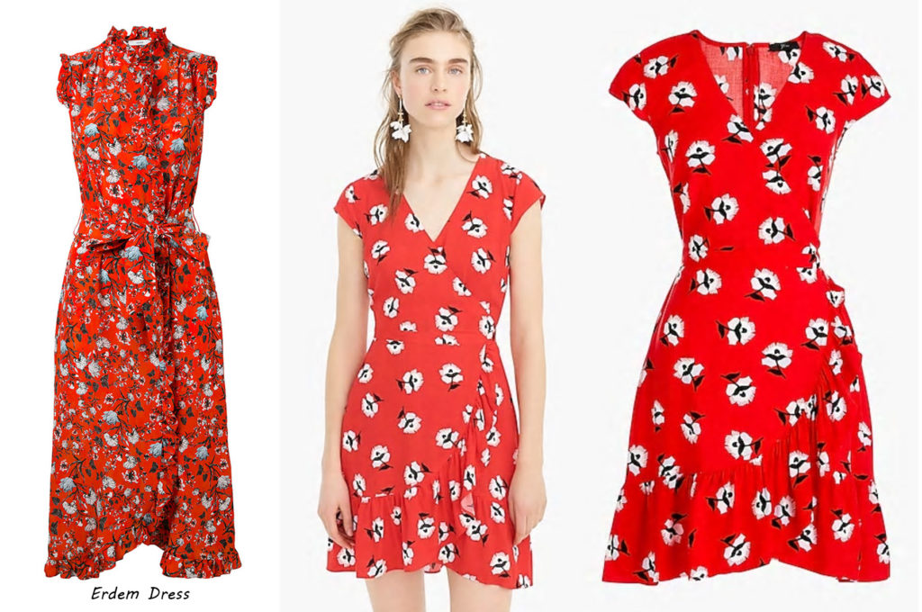 aa32e0d2cf J. Crew Factory – Printed Wrap Dress in Fantome Floral Ivory Red, $79.50 –  NOW 50% Off ($39.50) with an additional 20% Off using promo code FULLBASKET