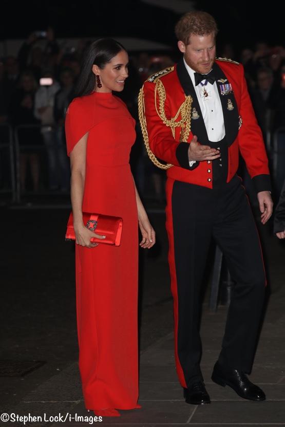 Meghan Markle Red Evening Gown Safiyaa Kalika Mountbatten Music