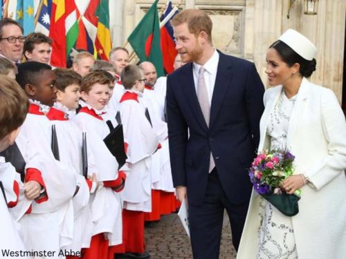 Meghan Harry with Choir After Commonwealth Service Mar 11 2019 via WA